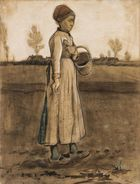Vincent van Gogh, Femme semant/Peasant Woman Sowing with a Basket, 1881