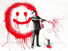 BRAINWASH auch Thierry Guetta (MBW), Mr. ◊ Spray Happiness Red