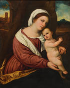 Paris Bordone, Madonna mit Kind in Landschaft, um 1525