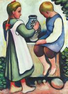 August Macke, Kinder am Brunnen II, 1910