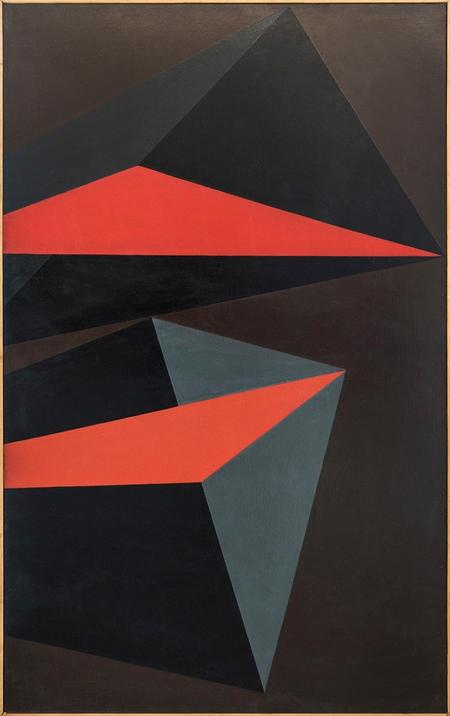 Marian Szpakowski, Composition (in greys and red), 1965