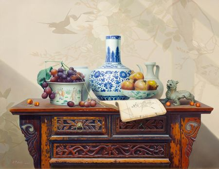 Song Yu, Still life with fruits, procelain and a dragon, 2008