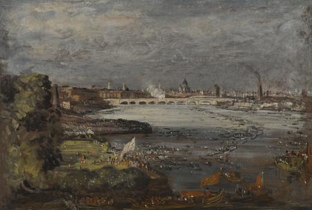 John Constable, The Opening of Waterloo Bridge, seen from Whitehall Stairs, London, 18 June 1817