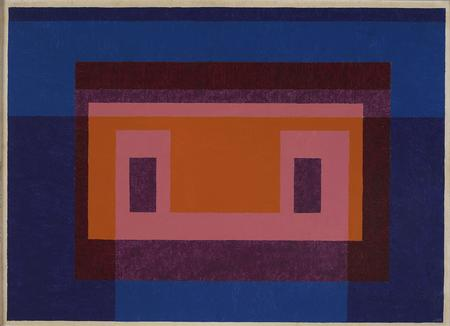 Josef Albers, Variant / Adobe. 4 Central Warm Colors Surrounded by 2 Blues, 1948