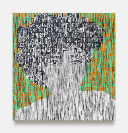 Ghada Amer, Self Portrait in Black and White, 2020