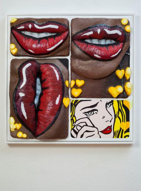 Gina Beavers, Pop art lip with Pop art, 2017