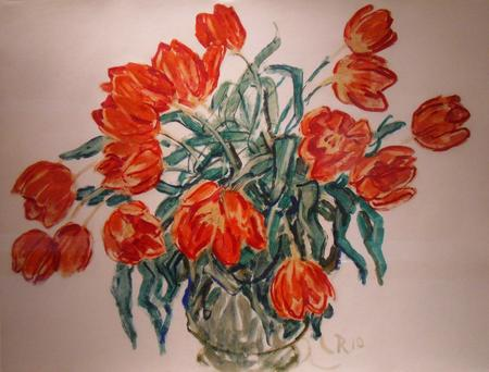 Christian Rohlfs, Rote Tulpen in Vase, 1910