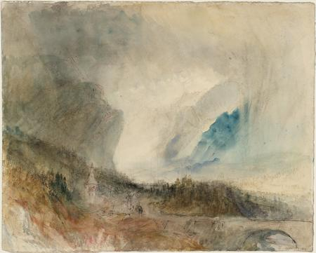 Joseph Mallord William Turner, Storm in the St Gotthard Pass. The First Bridge above Altdorf: Sample Study, um 1844/45